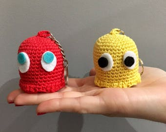 Pacman gamer Keyring pacman ghost, inky, pinky, blinky clyde Keychain keyring nerd ghost from pacman, funny keyring, pacman keyringgift