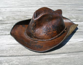 Leather hat, tooled leather hat, vintage hat, vintage leather hat, vintage tooled leather hat, boho leather hat, 70s leather hat, Peru hat
