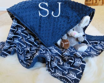 Baby Blanket,Baby Boy Blanket Personalized, Navy Blue Arrows Baby Boy Blanket, Baby Gift, Baby Shower Gift, Minky Baby Blankets