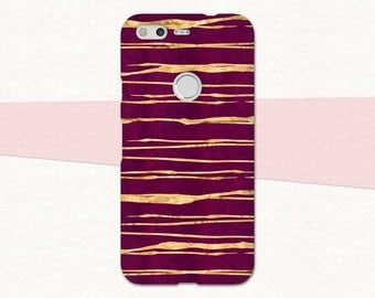 Magenta Gold Pixel Case, Google Pixel XL Case, Striped Pixel Phone Case, Google Pixel Case Magenta, Google Pixel Cover, Pixel XL, Abstract