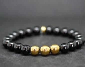 """Shiny Onyx & gold series """"Hema3Gold"""" Hematite Hematite bracelet"""