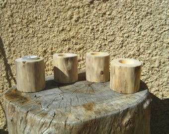 set of 4 natural Driftwood candle holders