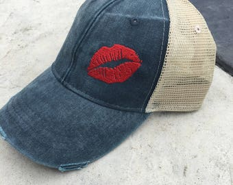 Lips, custom hat, womens hat, trucker hat, cap, hat, lip, lips hat, mesh hat, snapback hat, adams hat, distressed, vintage