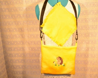 Super Cute Hedgehog or Guinea Pig Carry Bag.  Embroidered.  Yellow/Hedgehog with Pears** Ready to Ship