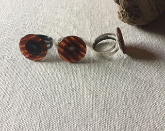 Amber Stripped Button Rings