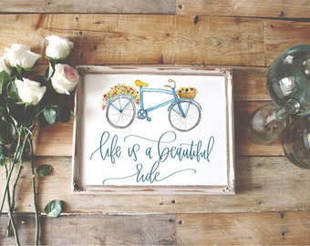 Watercolor Bike, Watercolor florals, Life is a Beautiful Ride, Nursery Print, Home Decor