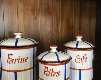 Vintage Kitchen Canisters, Ceramic Canisters, Set of Three Kitchen Canisters, Vintage Kitchen Decor