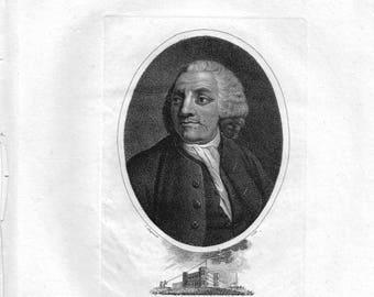 Benjamin Franklin Antique Engraving c.1806