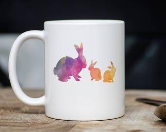 Bunny Watercolor Mug - Bunny Coffee Mug - Rabbit Coffee Mug - Bunny Mugs - Gift For Bunny Lovers - 11oz 15oz Novelty Christmas Birthday Gift