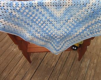 Baby Boy Blue Crocheted Blanket