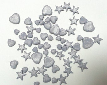 200 Silver hearts and stars cake decorations Edible fondant