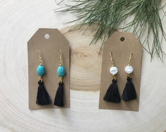 Stone and Tassel Earrings, Bohemian Jewelry