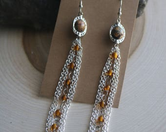 Leopard Jasper Bohemian Dangle Earrings, Bohemian Jewelry