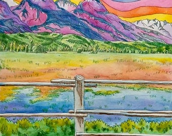 Print, Watercolor Painting of Vibrant Mountains - 8 x 10 inches
