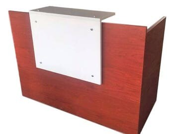 Mahogany and white reception desk 30 by 60