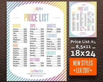 Price List, 18x24 / 8,5x11, Update 2017 new style, Sign, Custom LuLa, LLR marketing, Home Office Approved (Font & Color), Lula Price List #3