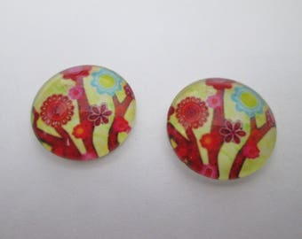 2 cabochons glass round 16 mm flower pattern
