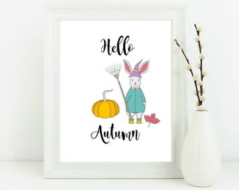 Hello Autumn print, Autumn decor, home decor, bunny print, halloween print, halloween decor, autumn wall art