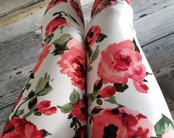 Leggings for women - red flowers - white offwhite-beige