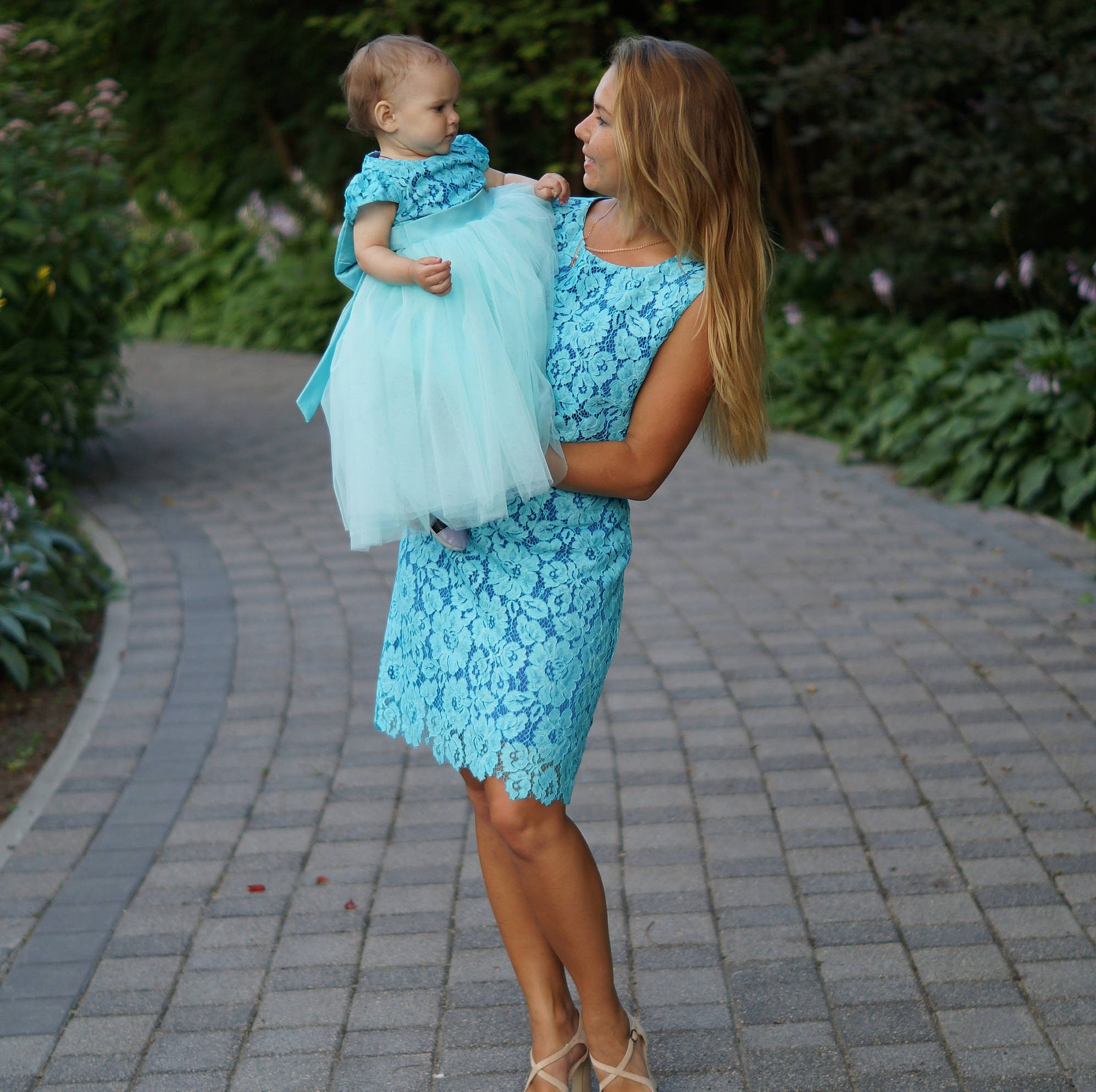 teal mother daughter matching tutu lace dress mini dresses