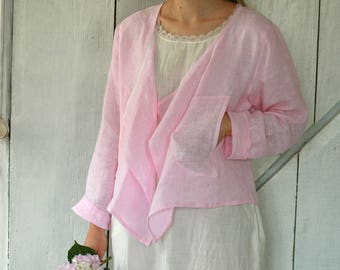 Linen long sleeve jacket with pockets