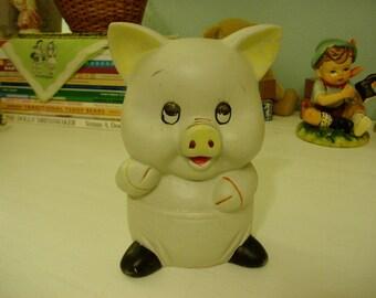 Ceramic Pig Piggy Bank, Vintage Nursery Decor