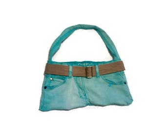 recycled blue jeans turquoise handcrafted and original - unique gift bag