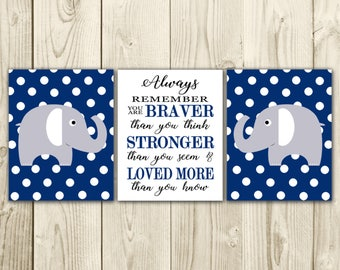Elephant Nursery Decor - Nursery Wall Art - Braver than you Think Quote