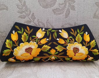 Embroidered clutch floral clutch embroidered evening bag India clutch black clutch yellow clutch roses gifts for her