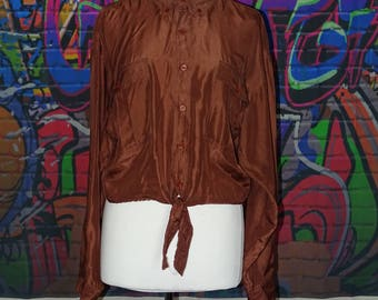 Unusual 90's red/brown, rusty, copper coloured oversized silk shirt - reworked and made into tie-top, crop top, knotted top