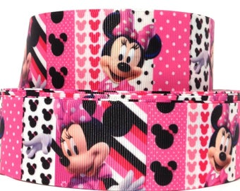 """GROSGRAIN RIBBON 1.5"""" Minnie Mouse s75 Printed  By the Yard"""