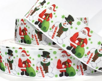"GROSGRAIN RIBBON  1""  HOLIDAY - Christmas Santa & Snowman   CH15  -  Sold By the Yard Printed"