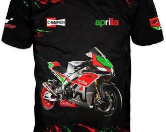 New Ultramodern 3D High Quality Motor Aprilia Mens  T-shirt