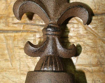 Large Cast Iron FLEUR DE LIS Finial Garden Statue Home Decor Rustic Ranch  Saints