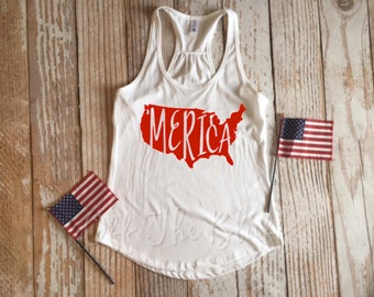 Ladies 'Merica Racerback Tank Top