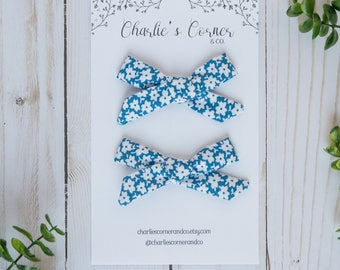 Blue and White Floral Schoolgirl Bow, Pigtail Set, Baby Girl Hair Bow, Hand tied Schoolgirl Bows