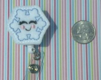 Snow Flake Felt Badge Reel-RN Badge Reel-Nurse Badge Holder-Retractable ID Badge-Cute Badge Reels-Name Badge Clip