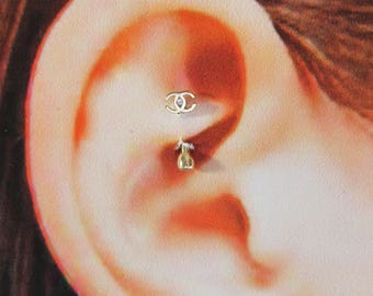 14k Solid Gold Rook Piercing Curved Barbell..16g..6mm