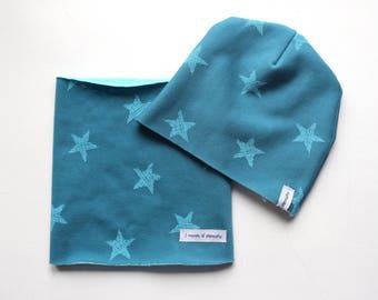 Blue fleece neck warmer hat and blue stars