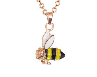 "Rose Gold Enamel Inlay Bumble Bee Charm Pendant with Stainless Steel, 18"" Chain Necklace"