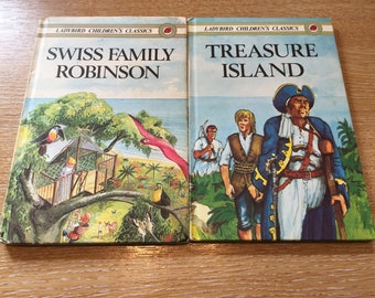 "Two Ladybird Children's Classics ""Treasure Island"" and ""Swiss Family Robinson"""