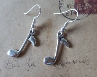 Sheet music Earrings ~ Silver Colors ~