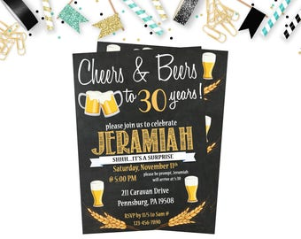 Cheers and Beers Birthday Invitation, Cheers and Beers 30th Birthday Invitation, 30th, 40th, 50th Birthday Invitation