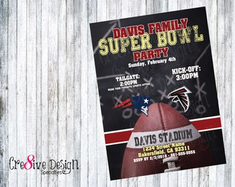 Super Bowl LII 2018 Party Custom Printable Invitation, American Football, NFL, Personalized Team, Philadelphia Eagles, New England Patriots