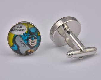 Superhero I Am Batman Cufflinks Superheroes Exclusive Cool Colourful Silver Wedding Prom Black Tie Gift Jewellery Accessories Men