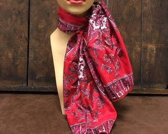 1980s Robinson Golluber Red & Pink Paisley Scarf