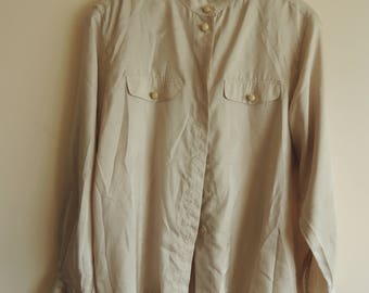 FREE SHIPPING - Vintage Marco PECCI Couture light beige long sleeve blouse with golden buttons, size 44