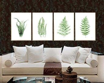Fern Tropical Leaves Set of 4 Art print Green Fern Leaf Wall decor Green Fern watercolor print Green Fern Leaves decor Fern Illustration