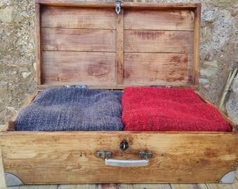 Vintage handmade wood suitcase
