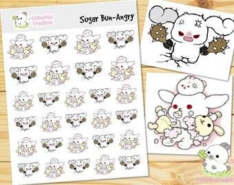 Angry Sugar Bun Bunny Emoji/ Emotion Planner Stickers